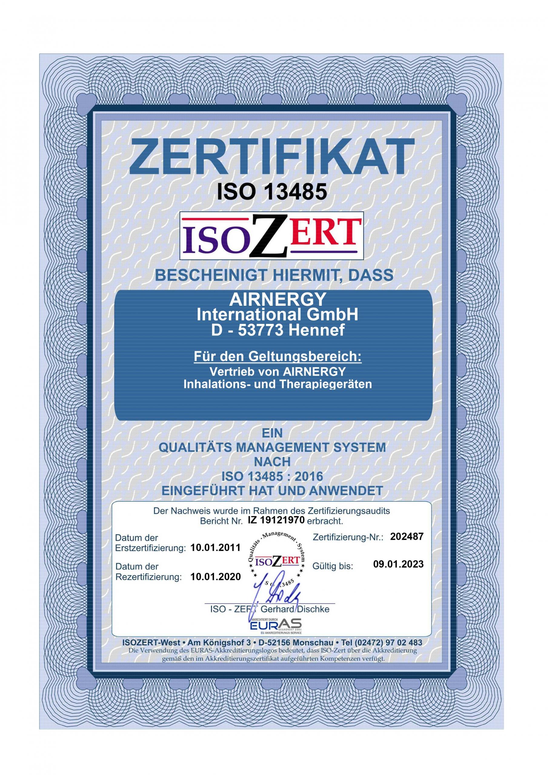AIRNERGY Zertifikat DIN EN ISO 13485