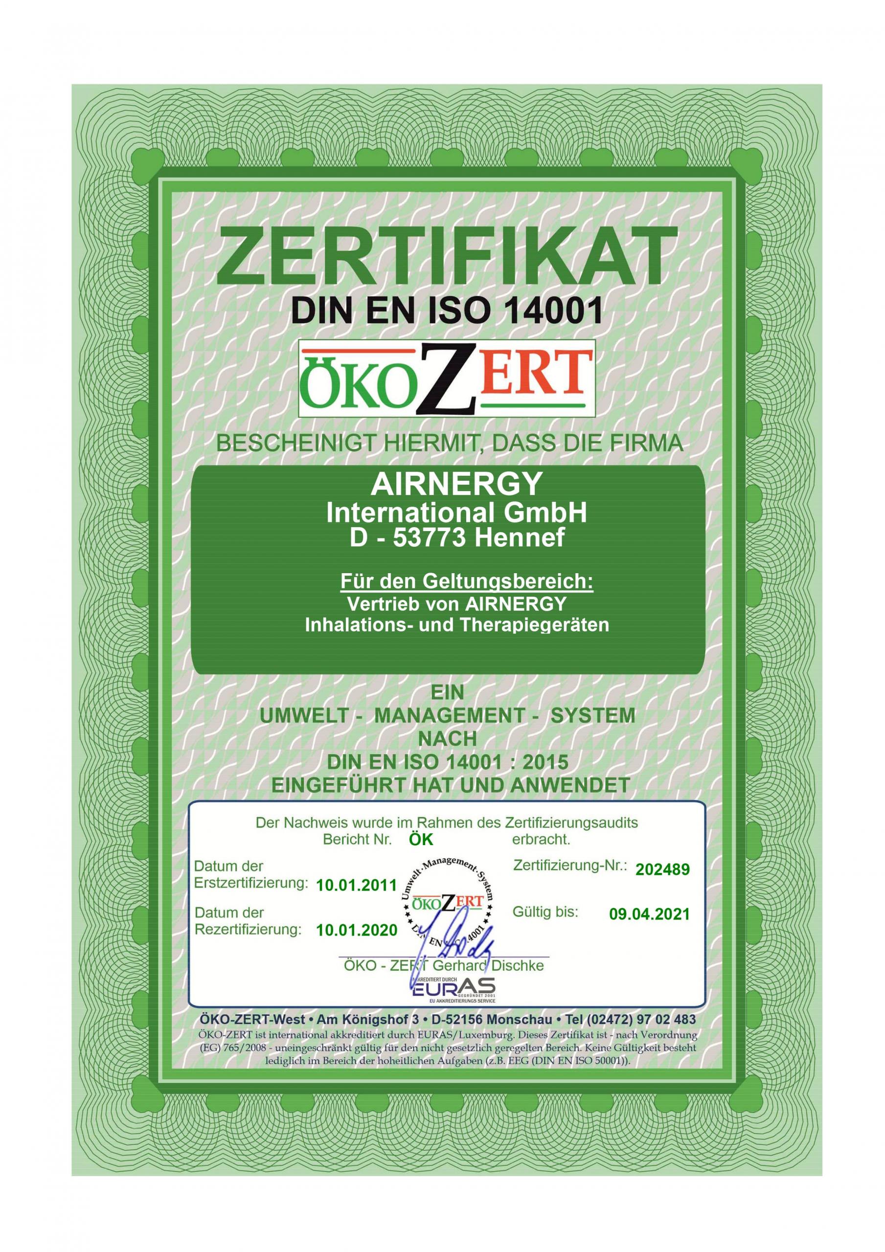 AIRNERGY Zertifikat DIN EN ISO 14001