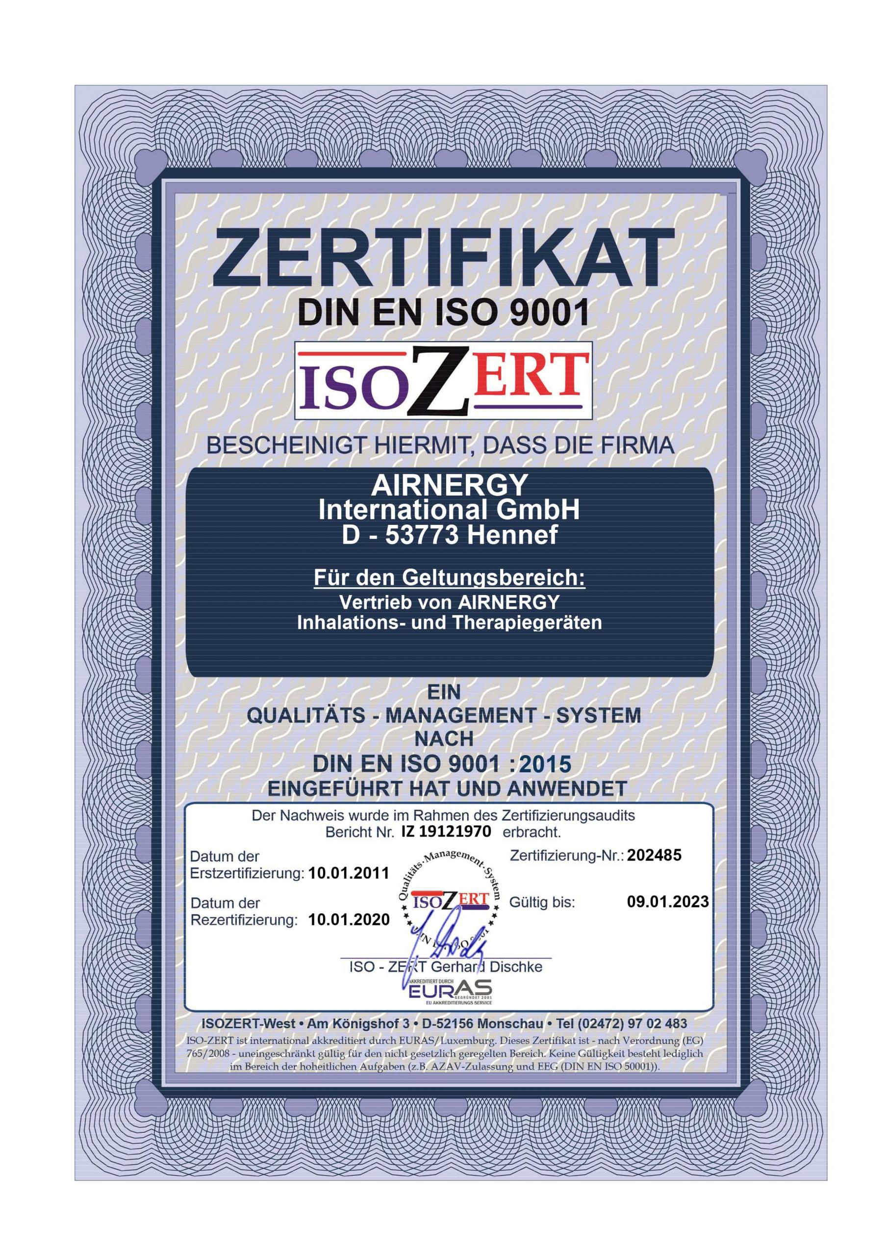 AIRNERGY Zertifikat DIN EN ISO 9001